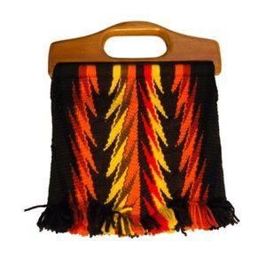 Vintage Fringe Wool Knit Handbag & Wooden Handles